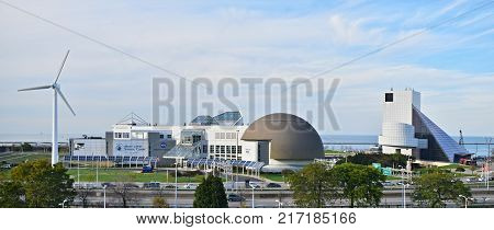CLEVELAND OHIO - OCTOBER 16 2017 - The Great Lakes Science Center is a museum and educational facility in downtown Cleveland Ohio United States