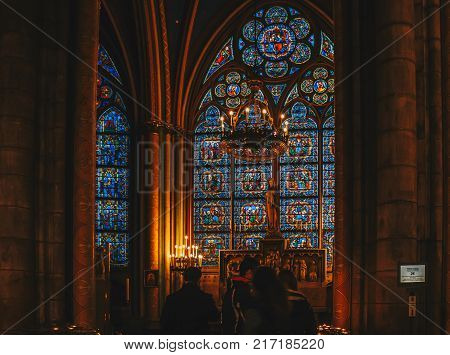 Paris, France - Nov 29, 2013: Interior View Of Notre-dame Cathedral, One Of Finest Examples Of Frenc
