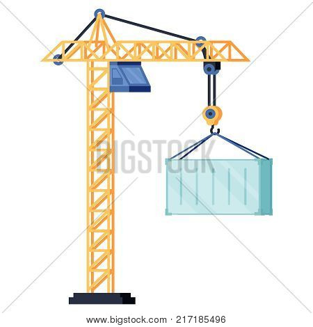 Industrial yellow crane operating and lifting generator or container. Modern truck crane with an upper cabin elevating heavy glass element. White background. Flat design. Vector illustration.