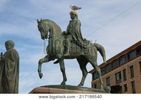 Statue of Napoleon Bonaparte on a horse in Diamant Square, Ajaccio, Corsica, France.