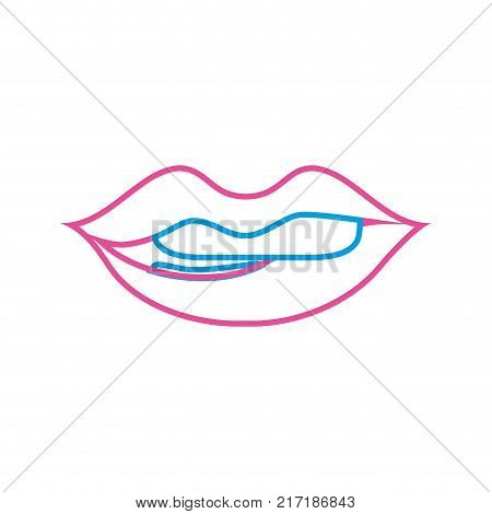 color line mouth with lipstick and bite inferior lip vector illustration