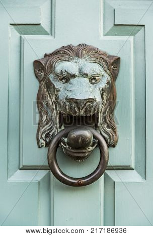 Detail of Front Door of a New England house in Portsmouth New Hampshire