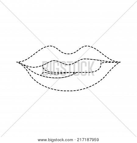 dotted, shape mouth with lipstick and bite inferior lip vector illustration