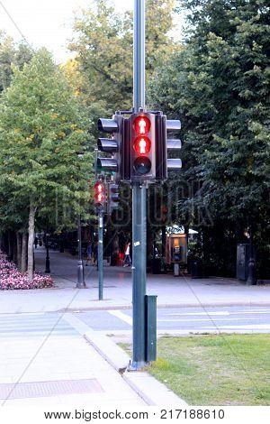 the semaphore of Pedestrian traffic lights Oslo, Norway.