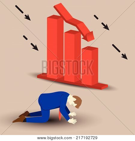 Vector Illustration Business Concept Designed As A Businessman Is Kneeling Beside Declining Red Bar Graph. He Is Despairing To Decreased Profit; Full Of Disappointment Depression And Discouragement.