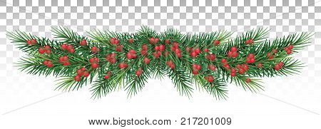 Christmas garland. Beautiful evergreen garland of Xmas tree branches with a red berries. vector illustration. Merry Christmas and Happy New Year greetings. Home decoration for winter celebration. Christmas graphic. Merry Christmas design. Christmas