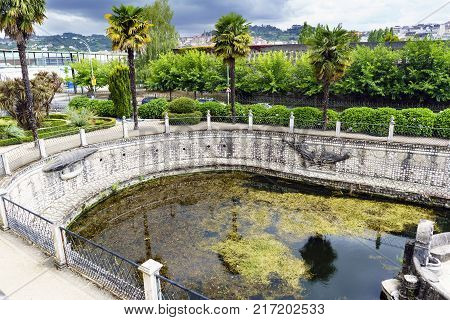 Artificial pond full of algae and with the edges of stone walls. Park of the brothers Naveira betanzos Galicia Spain