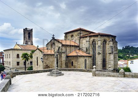 View of the church of San Francisco in Gothic style built in the second half of the XIV century and stone cross views from the Plaza de Andrade in Betanzos Galicia Spain