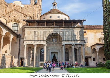 Florence Italy - April 03 2017: Pazzi Chapel by Filippo Brunelleschi located in the cloister of the Basilica Santa Croce
