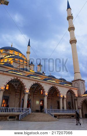 majestic mosque under the gray evening sky