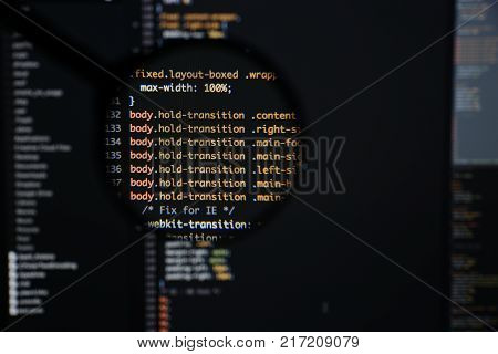 Real Css Code Developing Screen. Programing Workflow Abstract Algorithm Concept. Lines Of Css Code V
