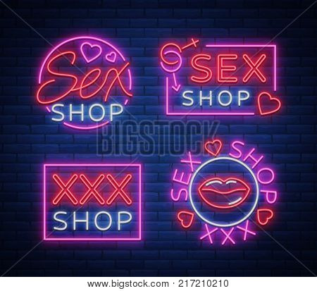 Collection logo Sex shop, night sign in neon style. Neon sign, a symbol for sex shop promotion. Adult Store. Bright banner, nightly advertising. Vector Illustration.