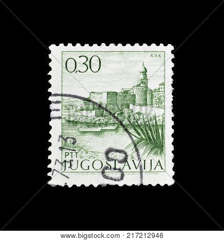 YUGOSLAVIA - CIRCA 1972 : Cancelled postage stamp printed by Yugoslavia, that shows Krk.