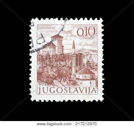 YUGOSLAVIA - CIRCA 1972 : Cancelled postage stamp printed by Yugoslavia, that shows Gradacac.