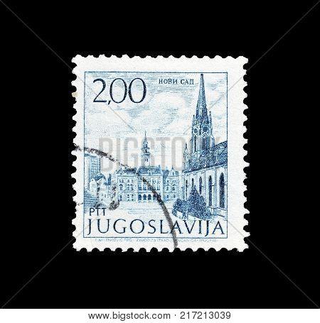 YUGOSLAVIA - CIRCA 1972 : Cancelled postage stamp printed by Yugoslavia, that shows Novi Sad.