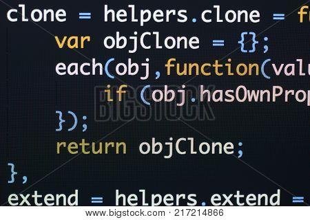 Real Java Script Code Developing Screen. Programing Workflow Abstract Algorithm Concept. Closeup Of