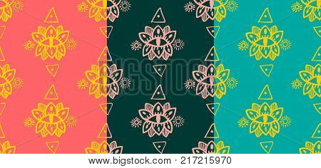 hand drawn seamless pattern in the style of boho or hippy. Vector illustration