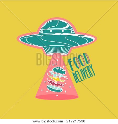 Food delivery logo colorful.UFO space ship steals burger. Vector illustration