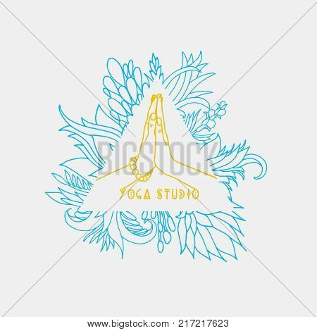 Graphic design element or logo template for spa center or yoga studio.Hand position.Vector illustration colorful