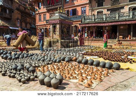 Potters Square In  Old Town Of Bhaktapur