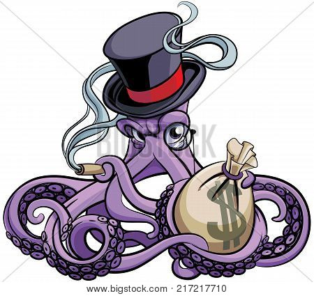 Vector colourful illustration of octopus smoking cigar in vintage Victorian top hat with monocle and bag with money in his tentacles isolated on white background. File doesn't contains gradients blends transparency and strokes or other special visual effe
