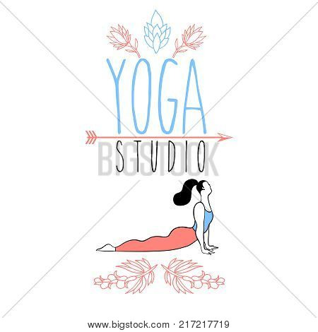 Graphic design element or logo template for spa center or yoga studio.Girl in a yoga pose. Vector illustration