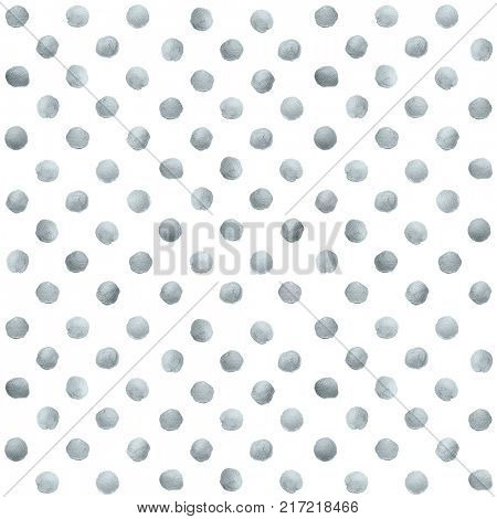 Silver glitter paint brush circle stains or dot pattern of stract dab smear smudge texture on white background. Glittering silver paint ink splash stain for luxury design template