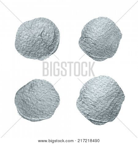 Silver glitter paint brush circle stains set or abstract dab smear smudge texture on white background. Isolated glittering silver paint ink splash stain for luxury greeting card design template poster