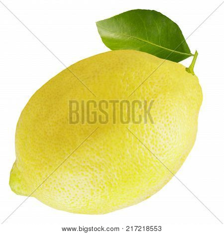 Half And Slice Of Lemon With Leaves Isolated On White