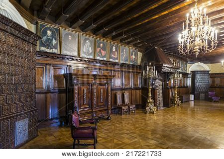 Nesvizh,Belarus-August 5,2017:The Fireplace Hall(The Dining Hall)in Nesvizh Radziwill Palace.Used as Premises to Showcase of Work of Arts.In XVIII Century Was Decorated With Portrait of Xavier Hessky, August 5, 2017, Nesvizh, Belarus