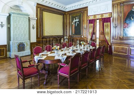 Nesvizh,Belarus-August 5, 2017:The Little Dining Hall Used as Living Room for Guests and the Prince's Dining Hall. Also Known as Mosaic Hall in August 5, 2017,Nesvizh, Belarus