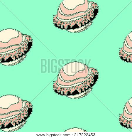 Pattern seamless background Saturn rings with a donut. Wrapping. Vector illustration