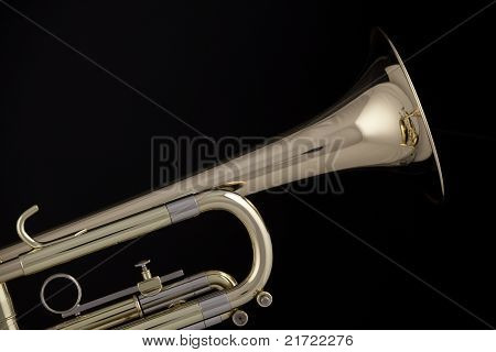 Gold Trumpet Cornet Isolated On Black