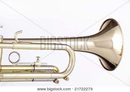 Gold Trumpet Cornet Isolated On White