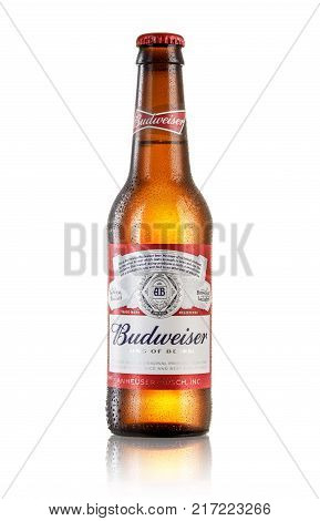LOS ANGELES USA - JULY 3 2017 : Photo of bottle of Budweiser beer on white background with reflection an American lager first introduced in 1876