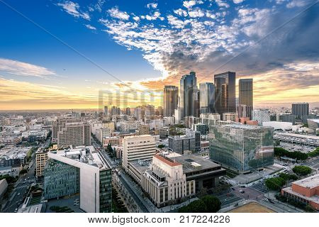 Downtown Skyline at Sunset. Los Angeles California USA