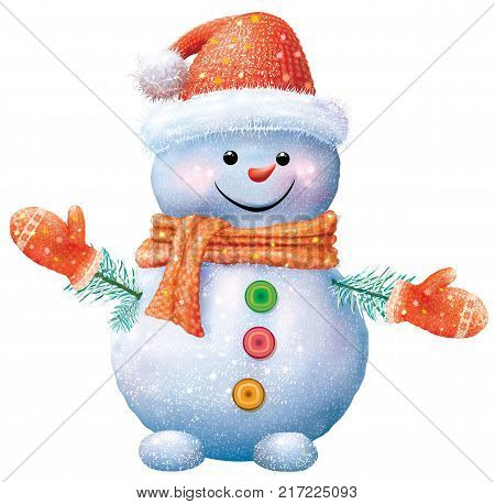 Smiling snowman in red hat and gloves. Vector illustration