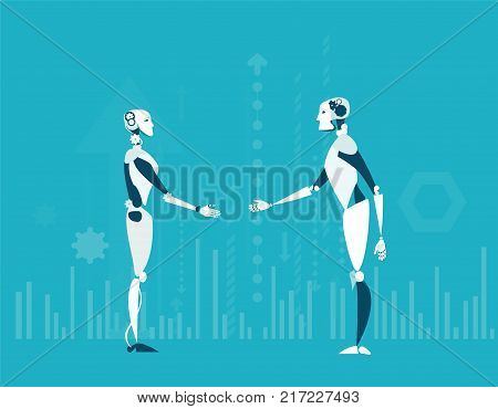 Future reality, Robot vs Robot and nanotechnology. Artificial intellect controlling, making decisions and generating ideas.