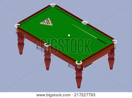 Isometric billiard table. Green table with balls and cue stick in vector