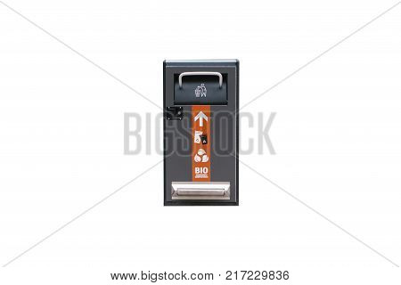 Modern smart bin isolated on white background. Waste collection. Separate collection of garbage and biodegradable waste