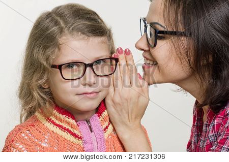 People, motherhood, family, mother and daughter whispering gossip poster