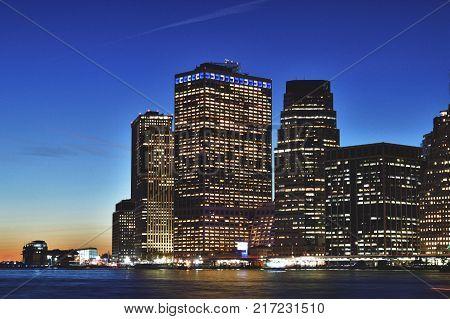 HDR view of Manhattan skyline taken from Broollyn Bridge Park.