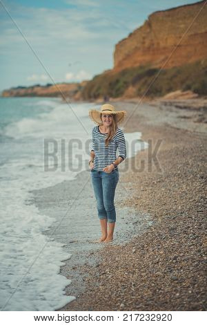 Adorable Beauty Lady Woman Eve Walking Posing Alone On Beach Sea Side Ocean Vacation Wearing Modish