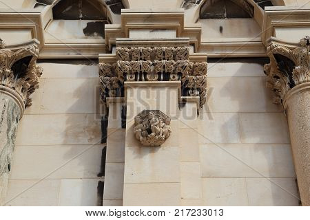 SPLIT, CROATIA - SEPTEMBER 11, 2016: This is one of the architectural adornments of the walls of the cathedral of St. Domnius.