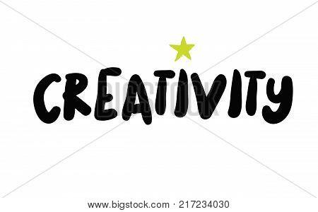 Creativity. Typographic stamp visualisation concept Original series.