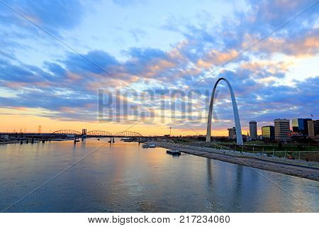 St. Louis Missouri and the Gateway Arch from Eads Bridge.