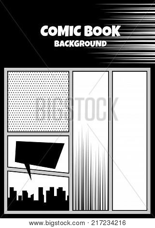 Pop art black white empty backdrop mock up. Vector illustration halftone dot mockup for comic text. Silhouette city boom explosion. Speech bubble balloon. Comics book monochrome template background.