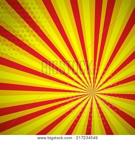 Yellow red circus colored Pop-Art style blue comics book background, Lichtenstein popart. Pop art comic strip backdrop sunlight, sun ray space. Funny halftone dotted template. Vector illustration.