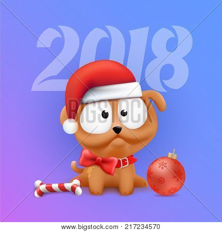Cute Little Puppy Character Sitting in Wait of 2018 Chinese New Year and Christmas. Color vector Dog illustration on gradient background.