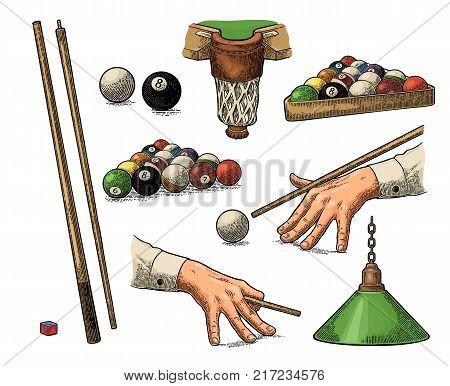 Set billiard. Cue sticks, balls, chalk block, pocket and lamp.Vintage color engraving illustration for poster, web. Isolated on white background.